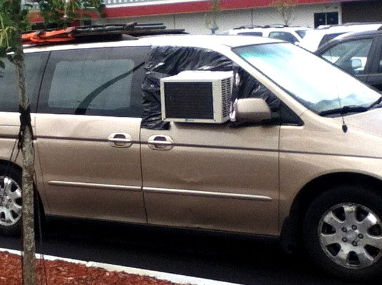 If your car air conditioner ever breaks, don't fix it, just add a unit like this and your problem is fixed!